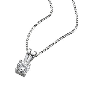 18ct white gold 25pt claw set certificated diamond pendant - Product number 3084892