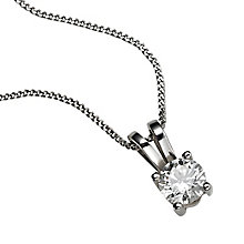 18ct white gold 33pt claw set certificated diamond pendant - Product number 3085163