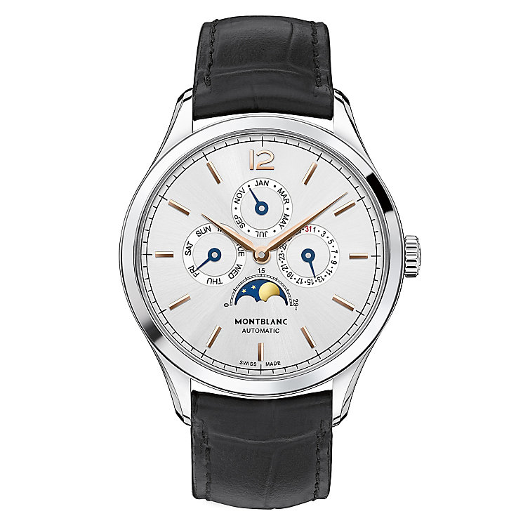 Montblanc Heritage men's stainless steel leather strap watch - Product number 3085244