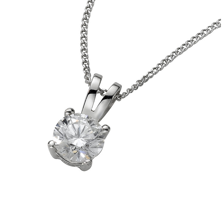 18ct white gold 50pt claw set certificated diamond pendant - Product number 3085252