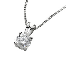 18ct white gold 0.50ct claw set certificated diamond pendant - Product number 3085252