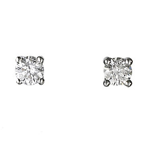 18ct white gold 25pt claw set certificated diamond earrings - Product number 3085295
