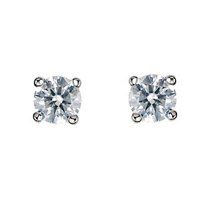 18ct white gold 33pt claw set certificated diamond earrings - Product number 3085309