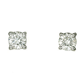 18ct white gold 40pt claw set certificated diamond earrings - Product number 3085368