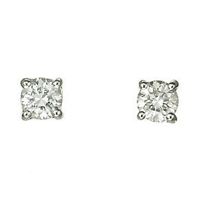 18ct white gold 50pt claw set certificated diamond earrings - Product number 3085376
