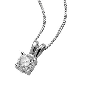 18ct white gold 40pt claw set certificated diamond pendant - Product number 3085414