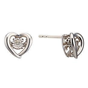 Diamonds In Rhythm Sterling Silver Diamond Stud Earrings - Product number 3087239