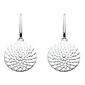Kit Heath Silver Flower Design Disk Drop Earrings - Product number 3091686