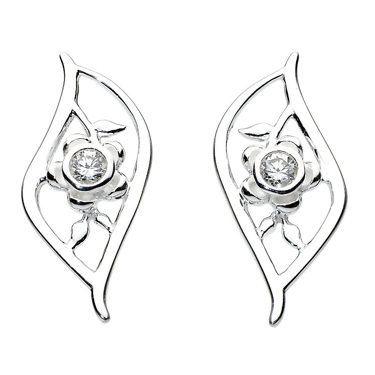 Kit Heath Silver & Cubic Zirconia Flower Leaf Stud Earrings - Product number 3091759