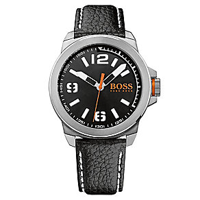 Boss Orange Men's Stainless Steel Black Leather Strap Watch - Product number 3092097