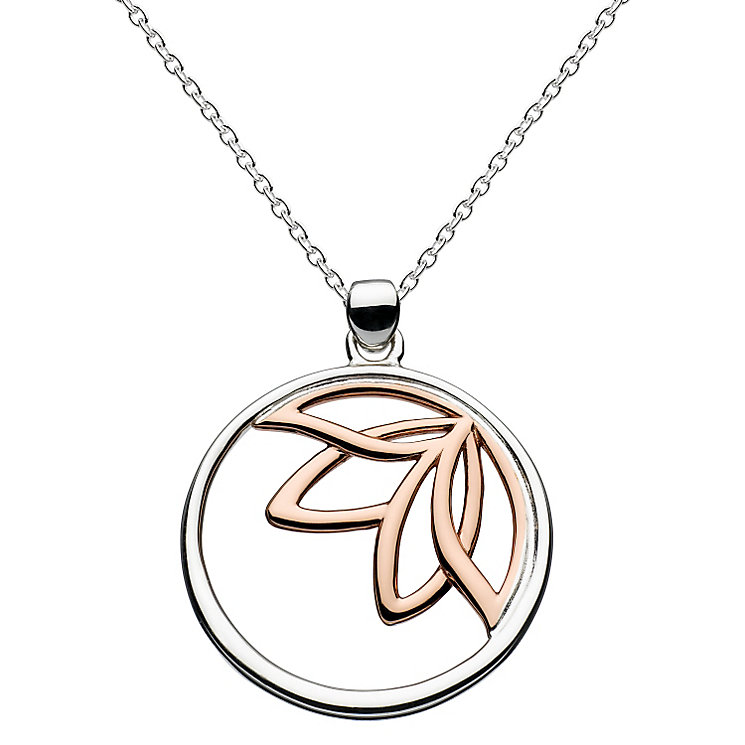 Kit Heath Silver & Rose Gold Plate Leaf Design Drop Pendant - Product number 3092127