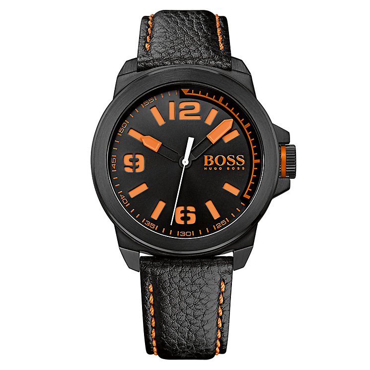 Boss Orange Men's Black Leather Strap Watch - Product number 3092143