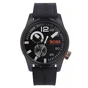 Boss Orange Men's Chronograph Black Rubber Strap Watch - Product number 3093131