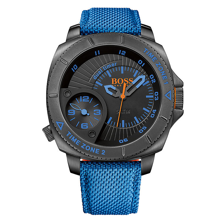 Boss Orange Men's Black Dial Blue Nylon Strap Watch - Product number 3093174