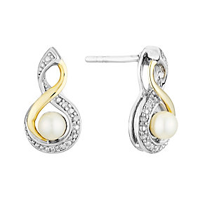 Silver & 9ct Yellow Gold Diamond & Pearl Twist Earrings - Product number 3095207