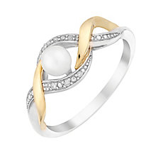 Silver & 9ct Yellow Gold Diamond & Pearl Twist Ring - Product number 3095215