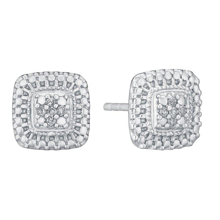 Sterling Silver and Diamond Square Cluster Stud Earrings - Product number 3095665