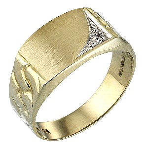 9ct Gold Diamond-set Signet Ring