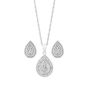 Sterling Silver & Diamond Teardrop Earring & Pendant Set - Product number 3103412