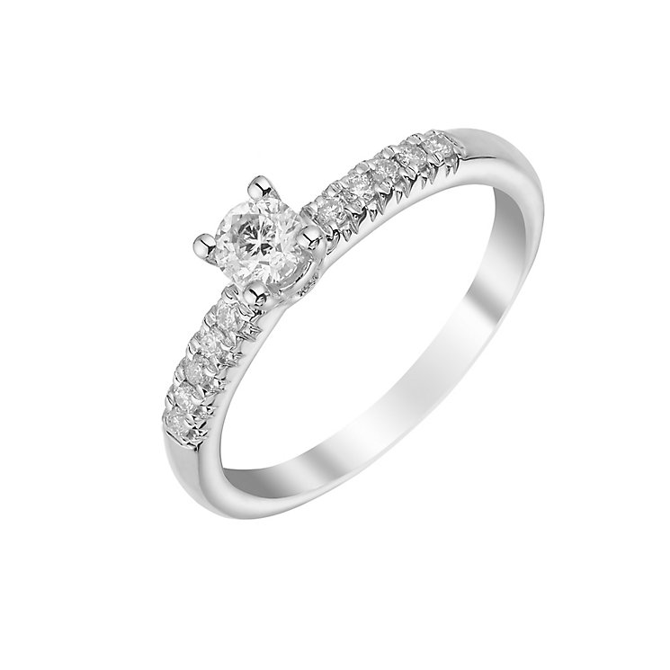 9ct white gold 33pt solitaire ring with diamond shoulders - Product number 3106179