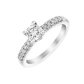 9ct white gold 66pt solitaire ring with diamond shoulders - Product number 3106330