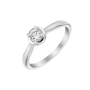 9ct white gold 25pt diamond solitaire ring - Product number 3106497