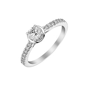 9ct white gold 50pt solitaire ring with diamond shoulders - Product number 3106950