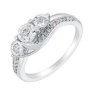9ct white gold 25pt illusion set diamond ring - Product number 3107094