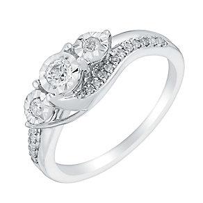 9ct white gold 25pt illusion set diamond ring - Product number 3107094
