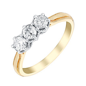9ct gold half carat three stone diamond ring - Product number 3107213