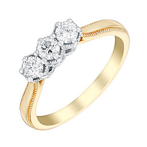 9ct gold 33pt three stone diamond ring - Product number 3107345