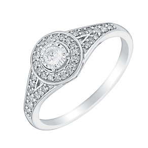 9ct white gold 25pt illusion set diamond halo ring - Product number 3108589