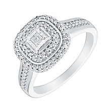 9ct white gold 25pt cushion set diamond cluster ring - Product number 3108724