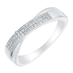 9ct white gold 9pt pave set diamond crossover ring - Product number 3109739