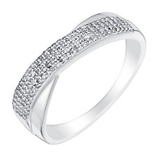 9ct white gold 15pt pave set diamond crossover ring - Product number 3109968