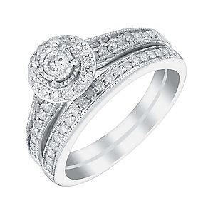 9ct white gold half carat round diamond halo bridal set - Product number 3110478