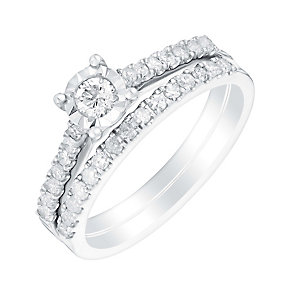 9ct white gold half carat illusion set diamond bridal set - Product number 3110699