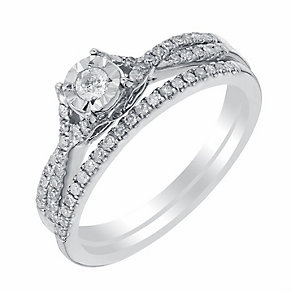 9ct white gold 25pt illusion set diamond bridal set - Product number 3110877