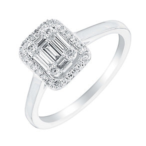 18ct white gold 25pt baguette cut diamond cluster ring - Product number 3111148