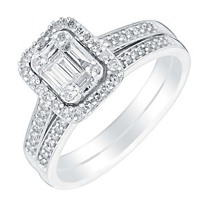 18ct white gold 40pt baguette cut diamond cluster bridal set - Product number 3111334