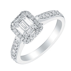 18ct white gold 40pt baguette cut diamond cluster ring - Product number 3111490