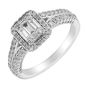 18ct white gold 60pt baguette cut diamond cluster ring - Product number 3111717