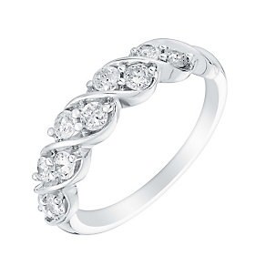 18ct white gold half carat diamond twist band - Product number 3112063