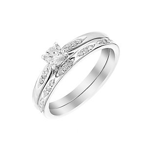9ct white gold 33pt solitaire diamond bridal set - Product number 3112691