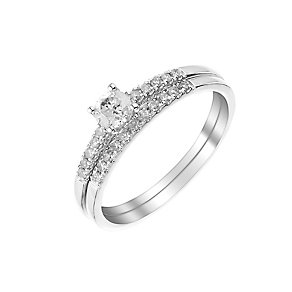 9ct white gold 35pt solitaire diamond bridal set - Product number 3112918