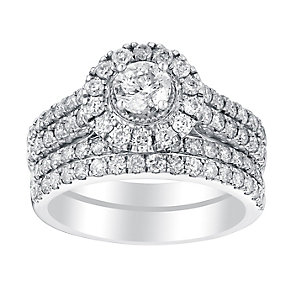 18ct white gold 1.5ct round cut diamond halo bridal set - Product number 3113396