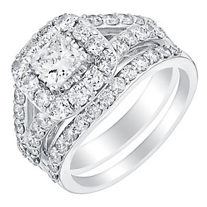 18ct white gold 2ct cushion cut diamond halo bridal set - Product number 3113760