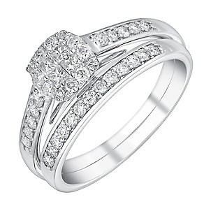 9ct white gold half carat cushion halo bridal set - Product number 3113906