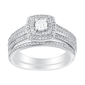 9ct white gold half carat cushion cut diamond bridal set - Product number 3114252