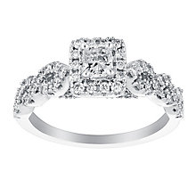 18ct white gold 0.75ct radiant cut solitaire diamond ring - Product number 3114694
